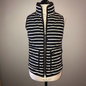 J. Crew Navy and White Striped Puffer Vest Size XS